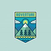 Adventure Mountain - Concept Badge Vector Illustration. Expedition Explorer Creative Logo In Flat St poster