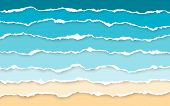 Blue Sea And Beach Summer Background. Torn Paper Stripes. Ripped Squared Horizontal Paper Strips. To poster