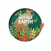 International Mother Earth Day Papercut Illustration. Colorful Leaves Inside World Map Cutout In Rec poster