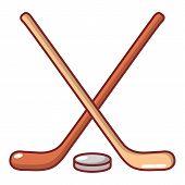 Hockey Stick Icon. Cartoon Illustration Of Hockey Stick Icon For Web poster