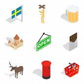 Region Of Europe Icons Set. Isometric Set Of 9 Region Of Europe Icons For Web Isolated On White Back poster