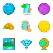 Geological Exploration Icons Set. Cartoon Set Of 9 Geological Exploration Icons For Web Isolated On  poster