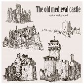 Set Of Medieval Castle Isolated On Cream Background. Graphic Drawing. Graphic Hand Drawing - Vector poster