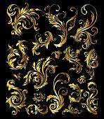 Постер, плакат: Цветы и растения Золотой орнамент