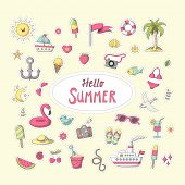 Summer Sticker. Set Of Cute Cartoon Characters. Vector Collection For Stickers, Patches, Badges, Pin poster