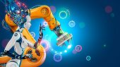 Artificial Intelligence Works Automation Industry Factory With Smart Robotic Arms. Robot Or Cyborg W poster