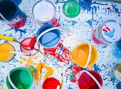 Abstract Background Of Paint And Paint, Art Studio Paints On The White With Paintings., Paints And W poster