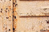 Rusted White Painted Metal Wall. Rusty Metal Background With Streaks Of Rust. Rust Stains. The Metal poster