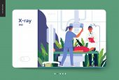 Medical Tests Template - X-ray Test - Modern Flat Vector Concept Digital Illustration Of X-ray Proce poster