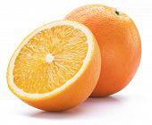 Orange fruit with orange slice isolated on white background. poster