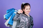 Kid Fashion. Shop Assistant With Package. Happy Child. Little Girl With Gifts. Sales And Discounts.  poster
