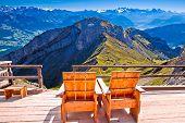 Relax Deck Chair Swiss Alps Panorama,  Pilatus Mountain Tourist Destination, Landscape Of Switzerlan poster