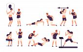 Fitness Trainer. Male Personal Coach Helps Woman Training, Fit Girl Exercising With Gym Instructor I poster
