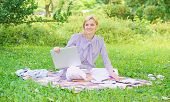 Guide Starting Freelance Career. Woman With Laptop Sit On Rug Grass Meadow. Steps To Start Freelance poster