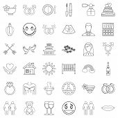 Love Affair Icons Set. Outline Set Of 36 Love Affair Icons For Web Isolated On White Background poster