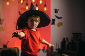 Best Ideas For Halloween. Happy Halloween Stickers. Halloween Holiday Concept. Magic Hat. Witch Hat. poster