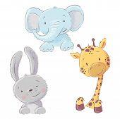 Set Of Baby Elephant Bunny And Giraffe. Cartoon Style. Vector poster