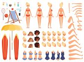 Summer Characters. Faces Female Human Body Parts Summer Swimsuit Tourists Vacation Chaise Longue Coc poster