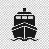 Ship Cruise Sign Icon In Transparent Style. Cargo Boat Vector Illustration On Isolated Background. V poster