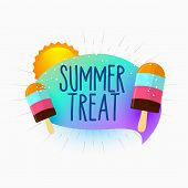 Summer Treat Icecream And Sun Background Vector Illustration poster