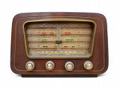 Old retro radio vintage. Old wooden retro style radio receiver vintage Radio, Speaker, Old, isolated poster