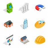 Capital Expenditure Icons Set. Isometric Set Of 9 Capital Expenditure Icons For Web Isolated On Whit poster