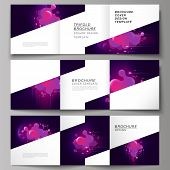 The Black Colored Minimal Vector Layout. Modern Creative Covers Design Templates For Trifold Square  poster