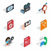 Multimedia Icons Set. Isometric Set Of 9 Multimedia Icons For Web Isolated On White Background poster