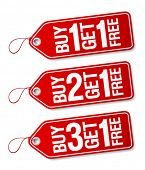 Buy one get one free, promotional sale labels set.
