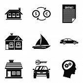 Private Property Icons Set. Simple Set Of 9 Private Property Icons For Web Isolated On White Backgro poster