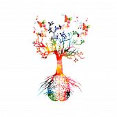 Colorful Human Brain With Growing Tree Vector Illustration Background. Creative Thinking, Ideas And  poster
