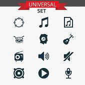 Multimedia Icons Set With Playlist, Music Lover, Microphone And Other File Elements. Isolated  Illus poster