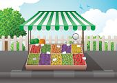 stock photo of bird fence  - Fruit and vegetable stall vector illustration - JPG