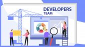 Engineer Team At Project Development, Template For Developer. App Development And Startup Concept. L poster