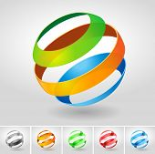 Vector transparency sphere symbol set.