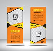 Orange Roll Up Banner Template Vector, Banner, Stand, Exhibition Design, Advertisement, Pull Up, X-b poster