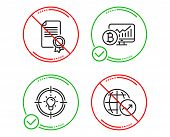 Do Or Stop. Certificate, Bitcoin Chart And Idea Icons Simple Set. World Statistics Sign. Diploma, Cr poster