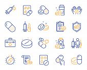 Medical Drugs Line Icons. Healthcare, Prescription And Pill Signs. Pharmacy Drugs, Medical Nurse, Re poster