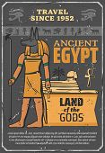 Ancient Egypt Landmarks And Historic Sightseeings Travel Tour Poster. Vector Egyptian Culture And Hi poster