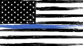 Grunge Usa Flag With A Thin Blue Line - A Sign To Honor And Respect American Police, Army And Milita poster