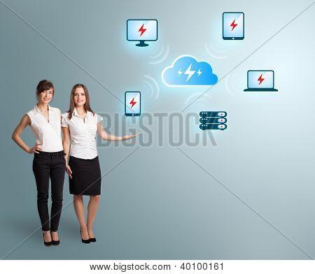 Beautiful young women presenting cloud computing network
