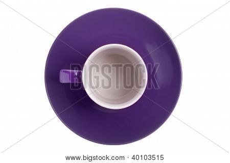 Empty Purple Cup And Saucer