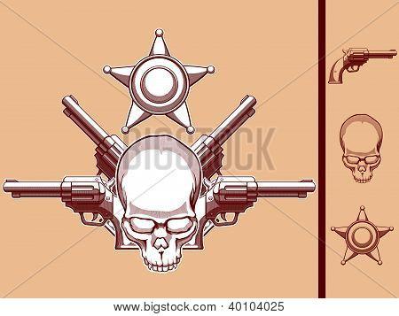 Vintage Wild West Skull, Revolver & Sheriff Badge