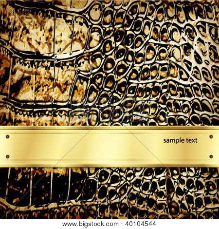 Fondo de cuero con elementos de oro. Vector.