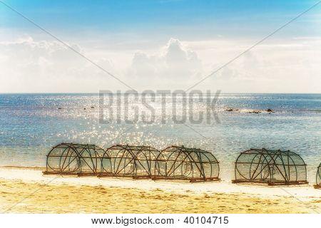 Big fishing gear at the beach. Thailand