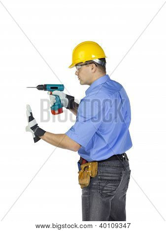 Male Handyman With Electric Drill