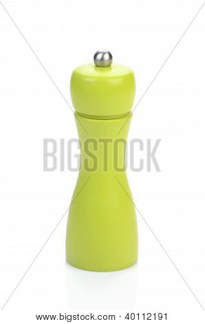 Green Pepper Mill Isolated On White