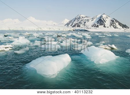 Typical Arctic winter landscape - Ice, sea, mountains