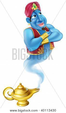 Friendly Jinn Or Genie And Magic Oil Lamp