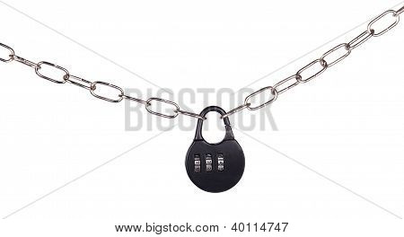Combination Lock And Chain Isolated
